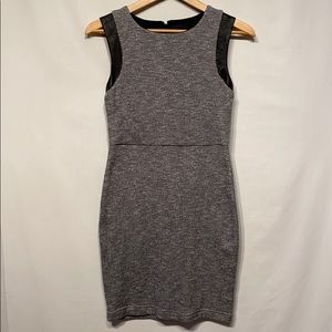 Anthro Greylin Gray Dress With Vegan Leather Small
